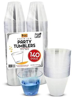 Top Choice Fig and Leaf (140 Pack) Premium Hard Plastic 9 OZ Party Cups l Old Fashioned Tumblers 9-Ounce l Crystal Clear Sturdy Disposable Tumbler Glasses Reusable Durable Cup l for Catering Wedding Birthday Event