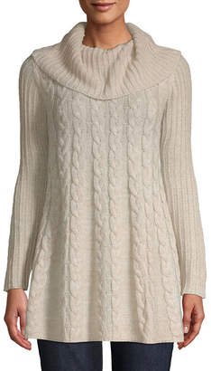ST. JOHN'S BAY Womens Cowl Neck Long Sleeve Pullover Sweater
