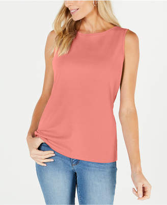 Karen Scott Boat-Neck Cotton Tank Top