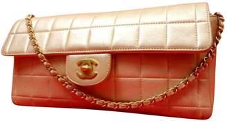 Chanel Vintage East West Chocolate Bar Beige Leather Handbag