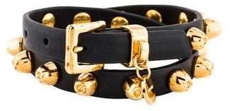 Miu Miu Studded Leather Double Wrap Bracelet