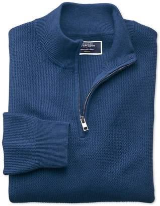 Charles Tyrwhitt Blue Pima Cotton Textured Zip Neck Sweater Size Large