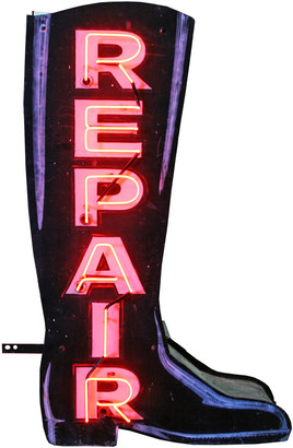 Rejuvenation Magnificent Double-Sided Neon Boot Repair Sign