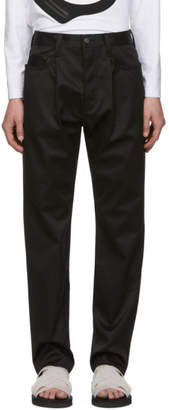 Fumito Ganryu Black Water-Resistant Tapered Trousers