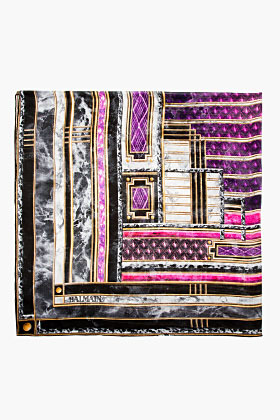 Balmain Purple Printed Scarf
