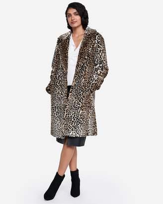 Express Long Faux Leopard Fur Coat