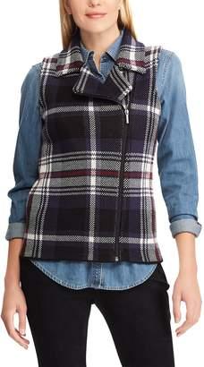 Chaps Women's Plaid Asymmetrical-Zip Vest