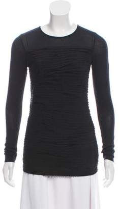 Diane von Furstenberg Silk-Trimmed Noella Long Sleeve Top Black Silk-Trimmed Noella Long Sleeve Top
