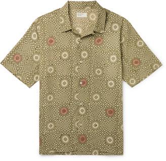 Universal Works Camp-Collar Printed Cotton-Poplin Shirt - Men - Green