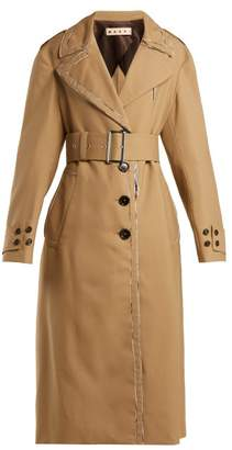 Marni Belted Wool Trench Coat - Womens - Beige Multi