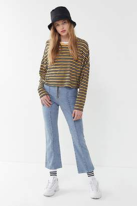 BDG Zip-Front Cropped Kick Flare Jean