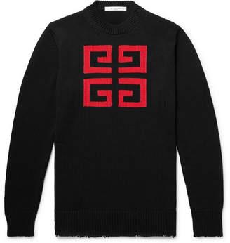Givenchy Slim-Fit Logo-Intarsia Cotton Sweater - Men - Black