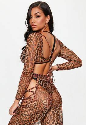 Missguided Leopard Print Mesh Backless Cropped Cover Up Top