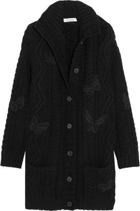 Valentino Embellished Cable-knit Wool Cardigan - Black