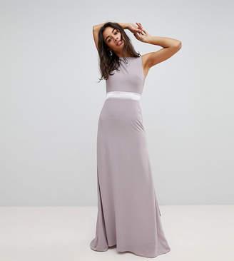 TFNC Petite Sateen Bow Back Maxi Bridesmaid Dress
