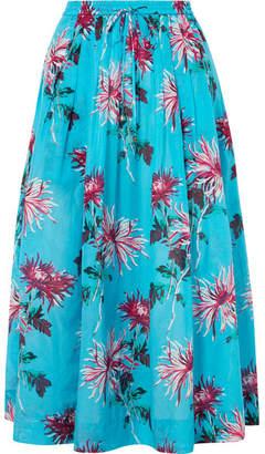 Diane von Furstenberg Floral-print Cotton And Silk-blend Midi Skirt - Turquoise