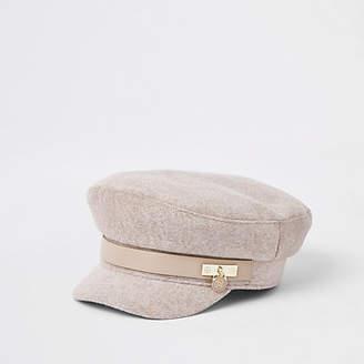River Island Beige marl padlock baker boy hat
