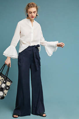 Anthropologie Tie-Waist Linen Wide Legs