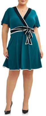 Paperdoll Paper Doll Women's Plus Size Short Sleeve Color Block Wrap Dress with Self Belt