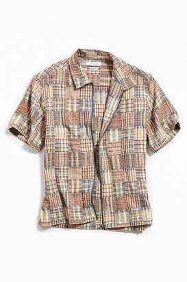 Urban Outfitters Patchwork Short Sleeve Zip Shirt
