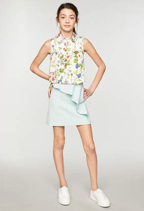 Milly MINIS SEERSUCKER CLASSICO RUFFLE MINI SKIRT