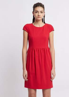 Emporio Armani Short-Sleeved Dress In Stretch-Wool Crepe
