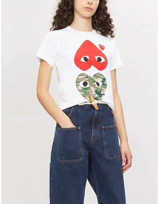 Comme des Garcons Camouflage Heart cotton-jerey T-shirt