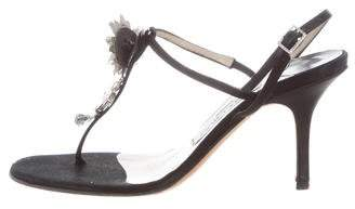 Jimmy Choo Satin T-Strap Sandals
