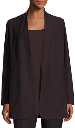 Eileen Fisher Stretch-Crepe Stand-Collar Long Jacket $228 thestylecure.com