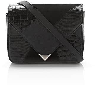 Alexander Wang Small Prisma Envelope Sling In Mixed Black Patchwork With Rhodium