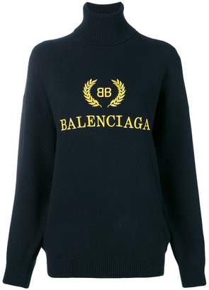 Balenciaga logo embroidered turtleneck sweater