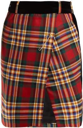 Alexandre Vauthier Tartan wool wrap mini skirt