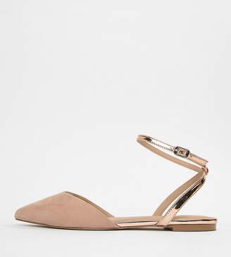 Asos Design DESIGN Lofty Wide Fit Pointed Ballet Flats