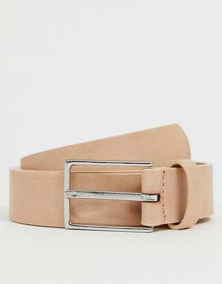 Asos Design DESIGN Wedding faux leather slim belt in pink with silver buckle
