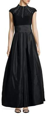 Vince Camuto Open Back Embellished Ball Gown