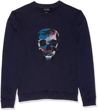 The Kooples Men's Fleece Sweatshirt with Melting Skull Embroidery