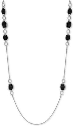 "Nine West Silver-Tone Oval Stone 42"" Strand Necklace"