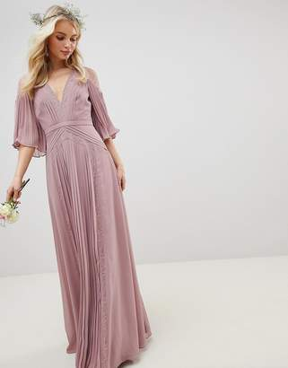 Asos Design DESIGN Bridesmaid pleated panelled flutter sleeve maxi dress with lace inserts