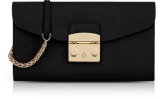 Furla Black Lizard Printed Leather Metropolis Small Clutch w/Chain Strap