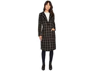 Michael Stars Plaid Coating Long Sleeve High Slit Coat Women's Coat