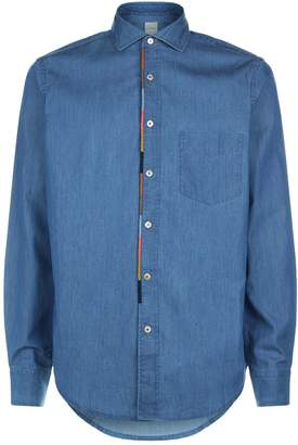 Paul Smith Stripe Embroidered Denim Shirt
