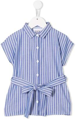 Douuod Kids belted striped shirt
