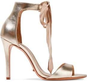 Schutz Woman Rene Suede-trimmed Metallic Leather Sandals Gold Size 6