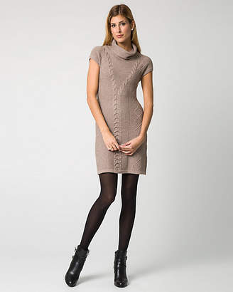 Le Château Cable Knit Cowl Neck Sweater Dress