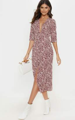 PrettyLittleThing Red Leopard Print Button Front Maxi Tea Dress