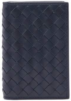 Bottega Veneta Full Intrecciato Folded Card Holder - Mens - Navy