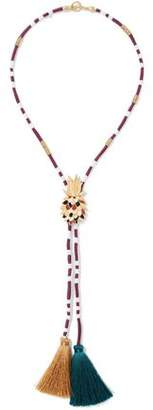 Maje Gold-Tone Enamel Cord And Tassel Necklace