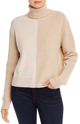 Theory Color-Blocked Cashmere Turtleneck