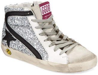 Golden Goose Slide High-Top Sequin Leather Sneakers, Toddler