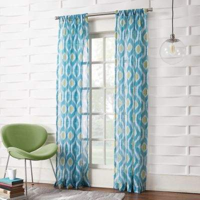 No.918 Marquez Ikat 84-Inch Rod Pocket Window curtain Panel in Marine